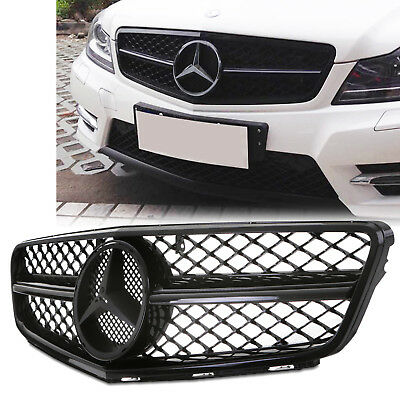 C63 Amg Look Chrome Black Front Badge Grill Grille For Mercedes C Class W204 12+