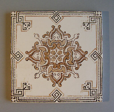 Antique Silk Screen printed Victorian tile Vintage #543