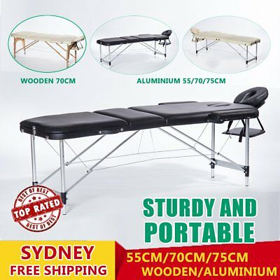 Portable Aluminium Wooden Massage Table 3 Fold Bed Therapy Waxing 55/70/75 AM