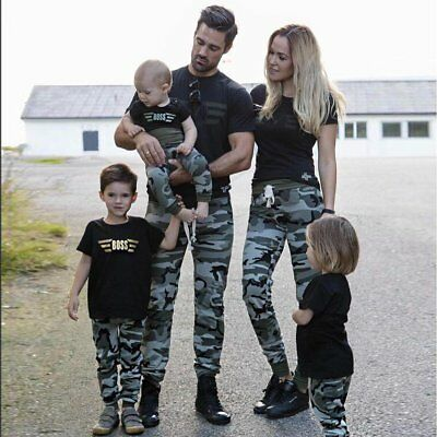 Military Family Kids Adult Clothes Matching Outfits T-shirt Tops+Camo Pants Sets