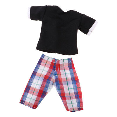Dolls Clothes for Ken Doll Barbie Clothes Checked Trousers Pants Shirt Tops