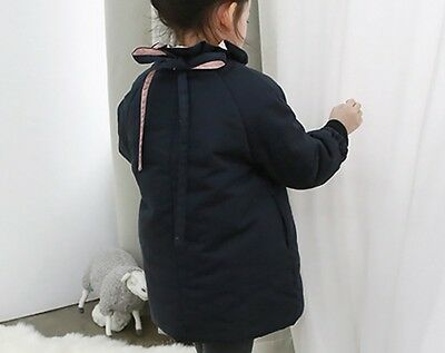 New Girls Winter Coat Navy Warm Padded Parka Cotton Coats Jacket Age 2- 9