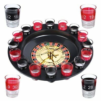 Evelots Drinking Game Glass Roulette W/ 2 Balls & 16 Shot Glasses, (j5a)