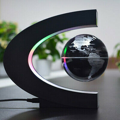 C Shape Magnetic Levitation Floating Globe Rotating World Map W/Led Light New