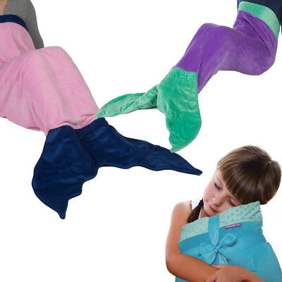 Original Comfy Tail Mermaid Blanket Throw Plush Fleece Sleeping Bag Kids Adults