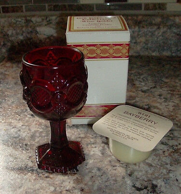 MINT NIB Avon 1876 Cape Cod Ruby Red Glass Wine GOBLET w/ BayBerry Candlette #3