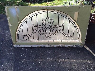 LARGE Antique Leaded In Beveled Glass Transom Window w/Jewels approx 30 x 54 1/2