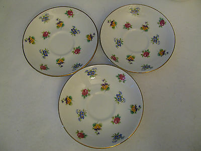 Lot of 3 Crown Staffordshire Fine Bone China England Floral Saucer Plates