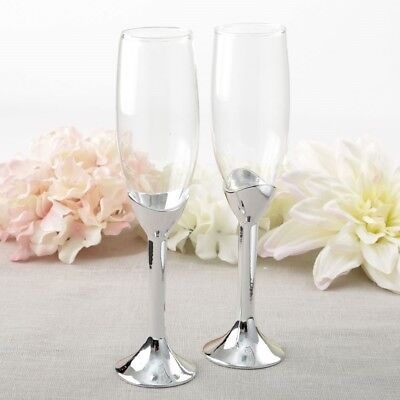 6 Classic Silver Stem Glass Champagne Bridal Wedding Toasting Flutes