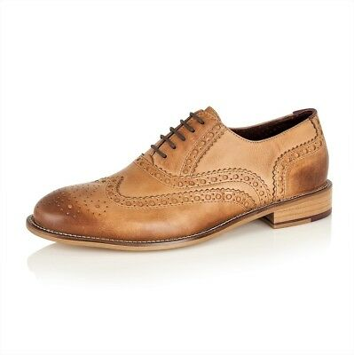 0fd023342a2 LONDON BROGUES GATSBY Tan Lace Up Brogues Mens Leather Shoes Sizes 7 to 15