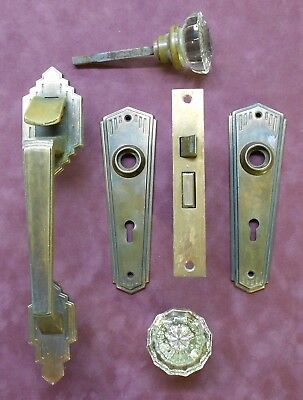 Art Deco Door Hardware Brass plates, Knobs(2), lock set, and exterior door latch