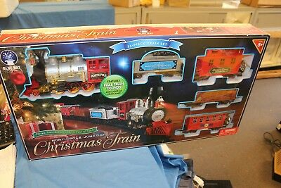 blue hat north pole junction christmas train set great gift - North Pole Junction Christmas Train