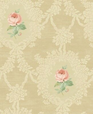 Beautiful Romantic Victorian Gold Rose Cream Pink Vintage Double Roll Wallpaper
