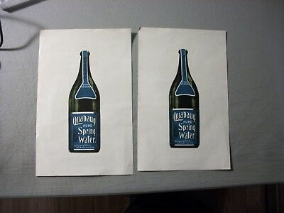 "Vintage LOT OF 2 QUABAUG PURE SPRING WATER TRADE CARDS 5.5X8.5""  SIDED"