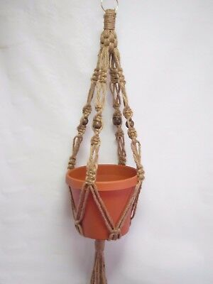 Macrame Plant Hanger ALL NATURAL JUTE Vintage Crown Style 30 inch with BEADS