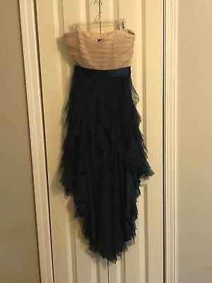 Gorgeous Pale Pink and Navy Blue Strapless Prom/Formal Dress Junior's Size 7