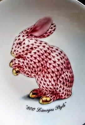 Email de Limoges 1855 Plates 800 Limoges Style Bunny Plate Gold Trim