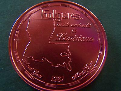 1987 FOLGERS COFFEE Red Aluminum Mardi Gras Doubloon