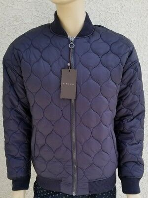 Zara Man New Men's Size M Quilted Bomber Jacket Navy Blue Nwt
