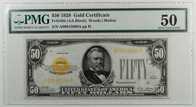 1928 $50 Gold Certificate Pmg About Uncirculated 50, Bright And Looks Cu+