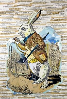 The White Rabbit Collage (Using ONLY Alice in Wonderland Books) C.E. White 20x30