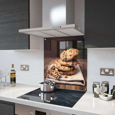 Chocolate Chip Cookie Glass Splashback Fixing Holes - 80cm Wide x 75cm High