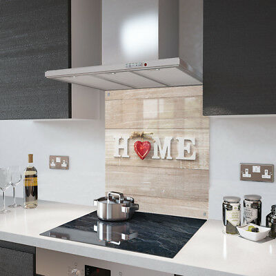 Home And Red Heart Glass Splashback Fixing Holes - 80cm Wide x 75cm High
