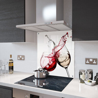 Red and White Wine Glass Splashback Fixing Holes - 90cm Wide x 60cm High