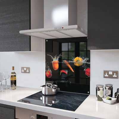 Peppers and Chili Glass Splashback Fixing Holes - 90cm Wide x 65cm High