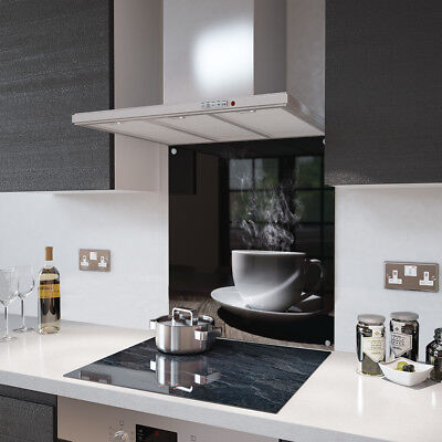 White Coffee Cup Glass Splashback Fixing Holes - 90cm Wide x 70cm High
