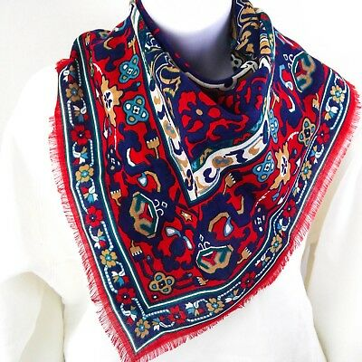 WINTERTHUR Museum Wool Challis Scarf ~ Red Blue Flower Textile Art Fringed