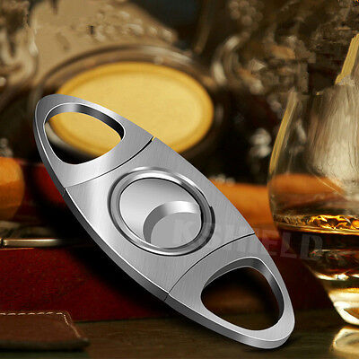 Silver Stainless Steel Pocket Cigar Cutter Knife Scissors Double Blades New HK