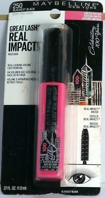 504d215d11a MAYBELLINE GREAT LASH Real Impact #250 Blackest Black (Lot of 2 ...