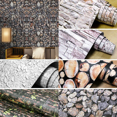 3D Brick Stone Wall Paper Wallpaper Self Adhesive Sticker Mural Rolls Home Decor