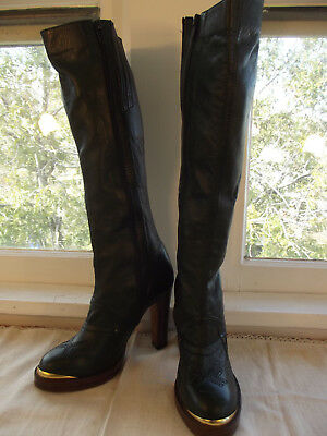 Vintage~1970s~Made in Brazil~Hunter Green High Heel Knee Boots~9M