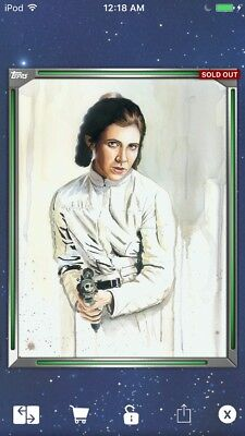 Topps Star Wars Digital Card Trader Green Premiere Paintings Leia Insert