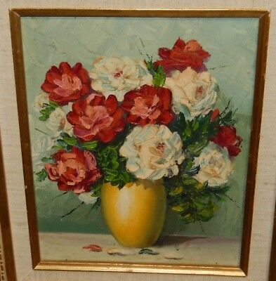Original Oil On Board Floral Yellow Vase Painting