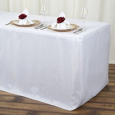 AbcCanopy Fitted Polyester Tablecloth Table cover (4ft 6ft 8ft) White 4ft