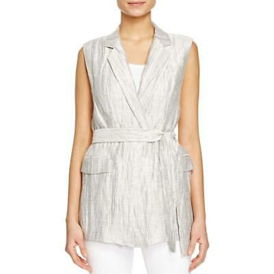Lafayette 148 New York 2598 Womens Metallic Belt Crinkled Vest Tunic BHFO