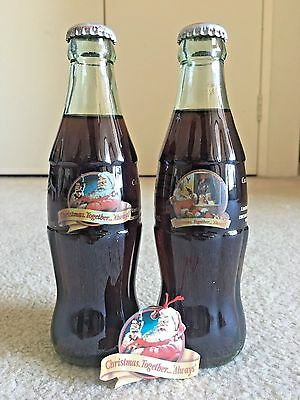New Zealand 1999 Christmas Limited Edition Coca Cola Coke Bottle Set of 2