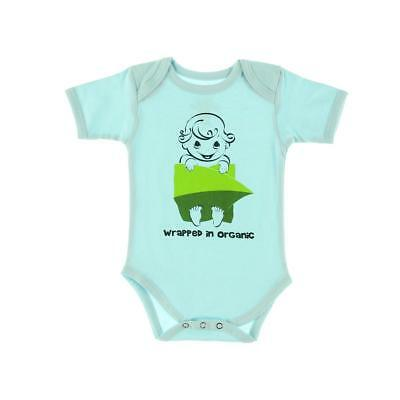 The Green Creation 9176 Blue Organic Cotton Baby Bodysuit 0-3 MO BHFO