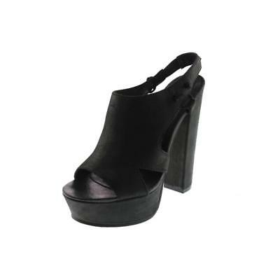 Diesel 8534 Womens Kaboom Tulley Black Leather Platform Heels Sandals 7.5 BHFO