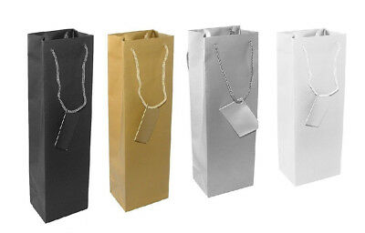 5 X Wine Gift Bags Gift Tag Attached Colour Black, Gold, Silver or White