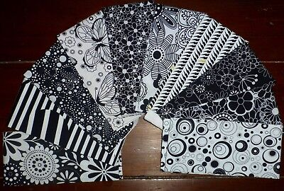 Jelly Roll Black White Fabric Quilting 10 strips (2.5 x 44 inch) #2g