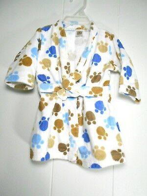 Carter's 0-9 Months Baby Boy Bathrobe Brown & Blue Puppy Dog Paw Prints