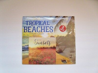 New 2 Pack, 2018, 12 Month Tropical Beaches/Sunsets Calendar Set - Free Shipping