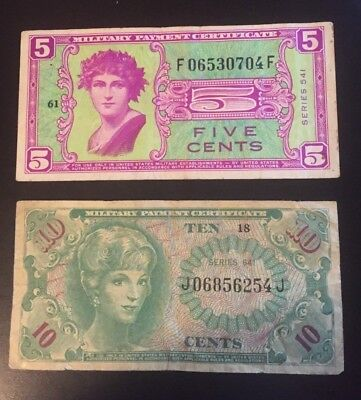 lot of two MPC series 541 5 cents + series 641 10 cents