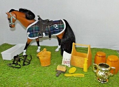 Grand Champion (GC) Toy Horse Figure (Black and Brown) Saddle Reigns Brush More