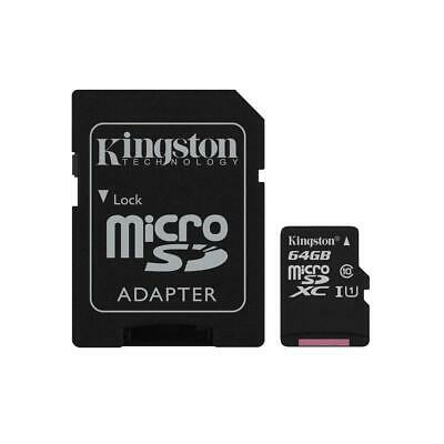 Kingston Technology 64GB Class 10 UHS-I microSDXC Memory Card with SD Adapter