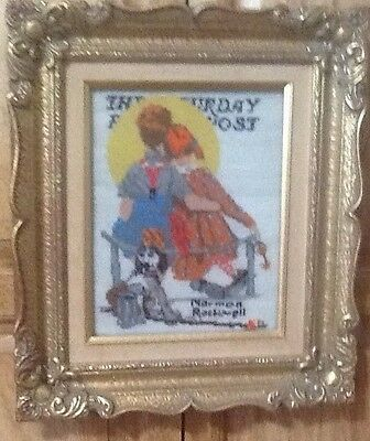 Vintage Framed Needlepoint~.norman Rockwell Sat Eve Post Cover Evc